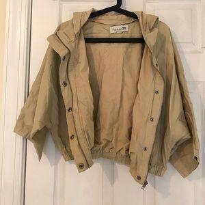 Forever 21 Dolman Sleeve Hooded Khaki Jacket